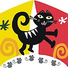 Black cat cartoon on red and orange background by Al Benge