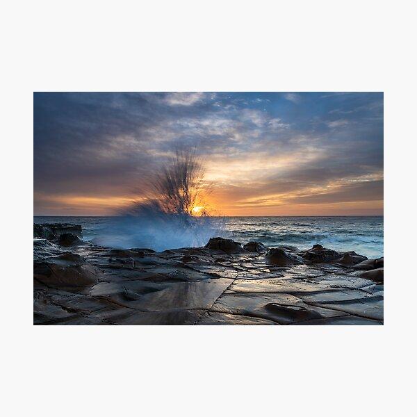 High Cloud Sunrise Seascape from Rock Platform Photographic Print