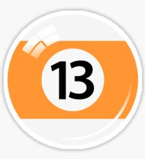 Pool ball number 13, orange and white with reflection Sticker