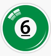 Green pool/billiard ball number 6 sticker Sticker