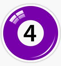 Purple pool/billiard ball number 4 sticker Sticker