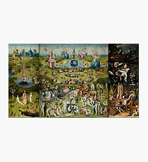 Hieronymus Bosch - The Garden Of Earthly Delights.  The Garden love - delight, eden, god, hell, adam, animal, bird, couple, fountain, monster, religion, fantasy, fish,  fruit Photographic Print
