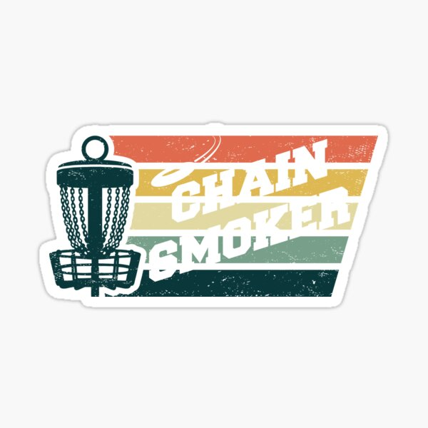 DISC GOLF, CHAIN SMOKER, FRISBEE, DISC GOLF BASKET RETRO VINTAGE Sticker
