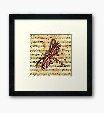 Dragonfly Music Sheet Sepia Framed Print