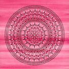 Hand Drawn Pretty Pink And Red Mandala Flower  by Zedart