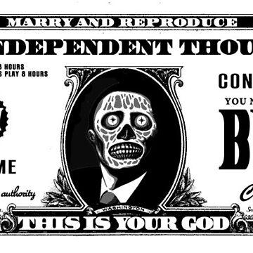 They Live, Obey, John Carpenter, Dollar Bill by monkeylennon