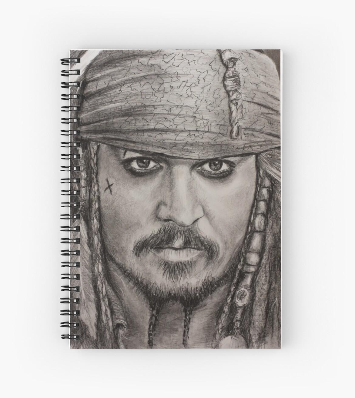 Portrait captain jack sparrow johnny depp by valery rybakow spiral notebook by valery rybakow