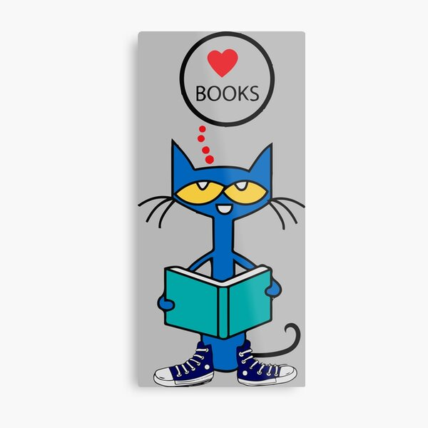 Pete The cat reading a book Metal Print
