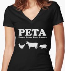PETA People Eating Tasty Animals Women's Fitted V-Neck T-Shirt