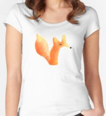 Cute Fox Graphic Design Women's Fitted Scoop T-Shirt