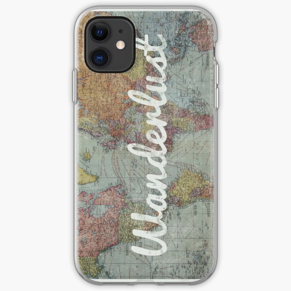 Wanderlust on Vintage World Map iPhone Soft Case