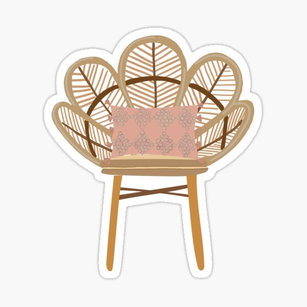 Wicker chair with pillow Sticker
