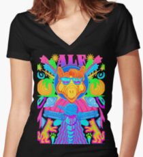 Psychedelic ALF Women's Fitted V-Neck T-Shirt