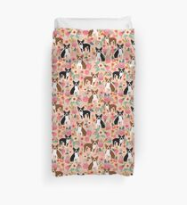 Boston Terrier florals pink peach pastel flowers spring summer pet portrait gifts for boston terrier owners Duvet Cover