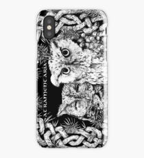 Eastern Screech Owls with Celtic Knot Border iPhone Case/Skin