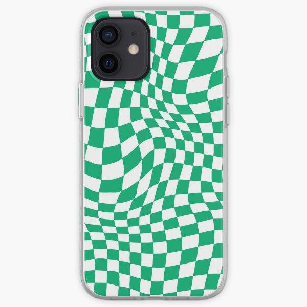 Green Warped Checker Print iPhone Soft Case