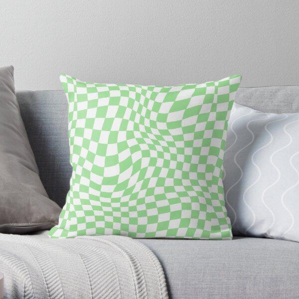 Light Pistachio Green Warped Checker Print Throw Pillow