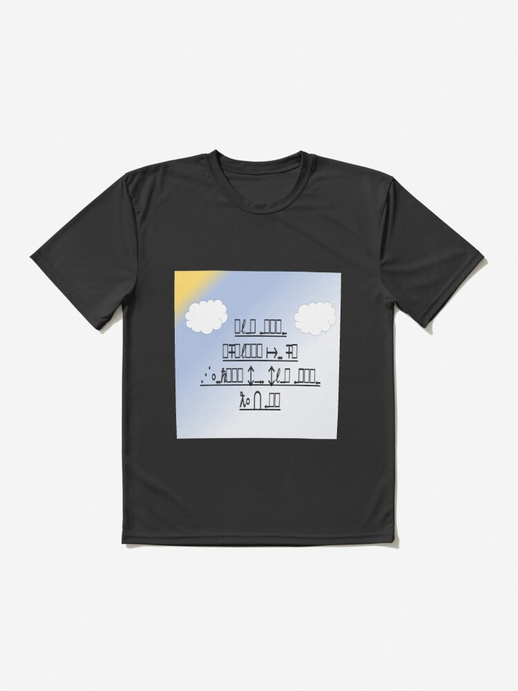 Alternate view of Fun feelgood Decipher Design blue sky with white clouds and a bit of sunshine Active T-Shirt