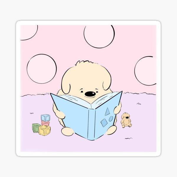 Puppy Reading Books in the Baby Nursery Digital Dog Art Sticker