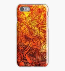 Fall orange watercolor hand drawn floral pattern iPhone Case/Skin