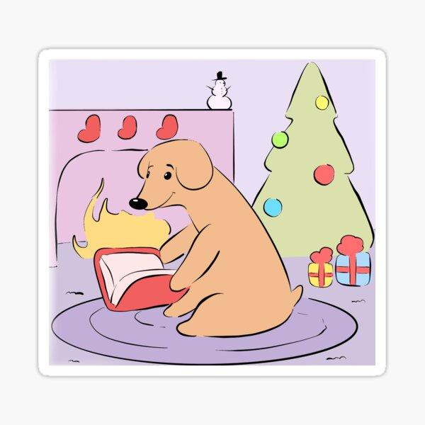 Christmas Puppy Reading Books Fireside Digital Dog Art Sticker