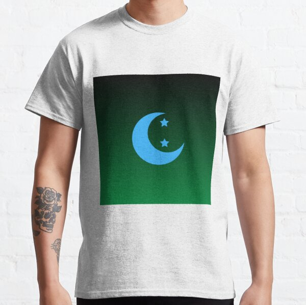 Blue Crescent Moon and Stars in Green Night Sky Classic T-Shirt