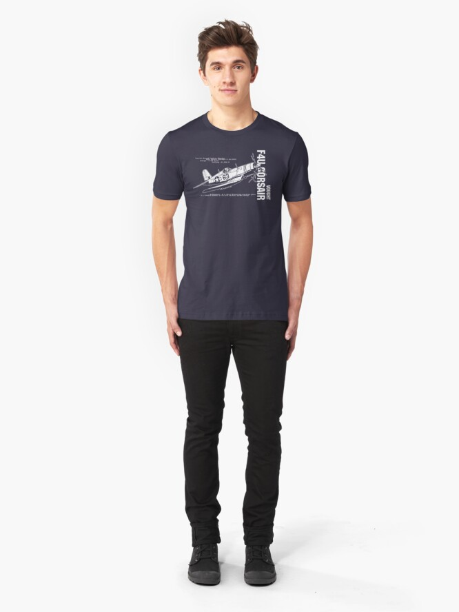 Alternate view of F4U Corsair Fighter Bomber Slim Fit T-Shirt
