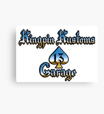 Kingpin Kustoms Garage chrome design Canvas Print