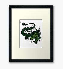 Fun Smiling Flying Green Dragon Framed Print