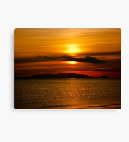 Sunset - Isle of Arran from Ayr Canvas Print