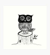 Little Owl Watercolor Art Print