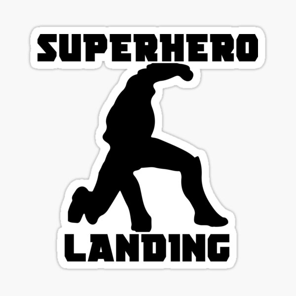 Superhero Landing Sticker