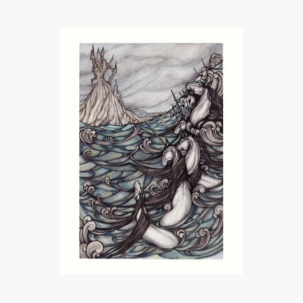 Unicorns in Sea Art Print
