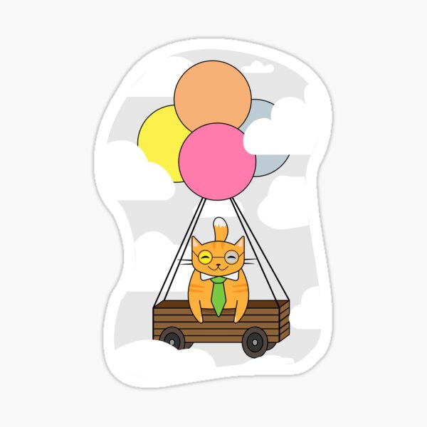 cat with balloons,cat in the box Sticker