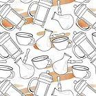 Pattern with french press, cup and turkish coffee pot by Viktoriia