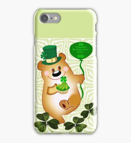 Teddy With St. Patrick's Greeting (1666 Views) iPhone Case/Skin