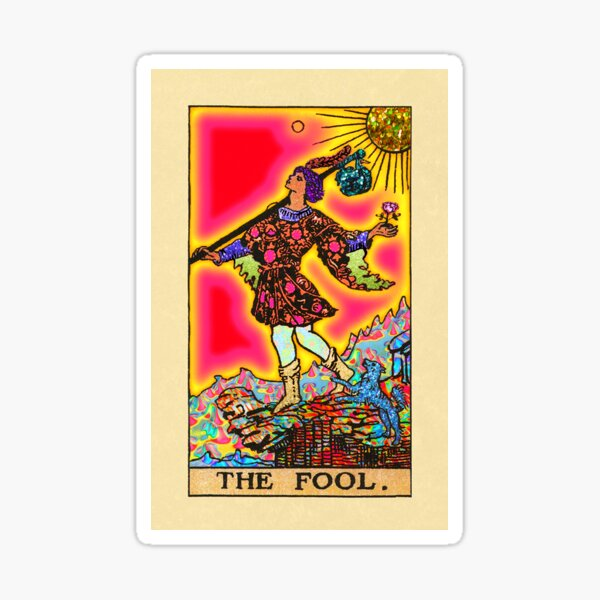 The Fool- Psychedelic Tarot in Rainbow Sticker