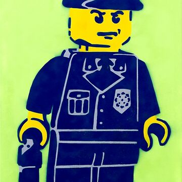 Lego Cop, Street Art, Spray Paint Stencil by bennyisjamin