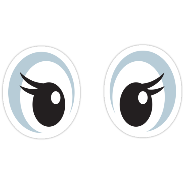 girly cartoon eyes with long eyelashes stickers stickers by mhea
