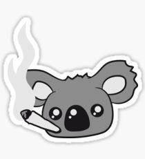 pothead weed hemp cannabis joint weed smoke pot high drug koala head face Sticker