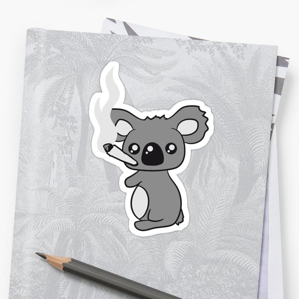 Kiffen Hanf Cannabis Joint Unkraut Rauch Topf hohe Droge Koala Sticker