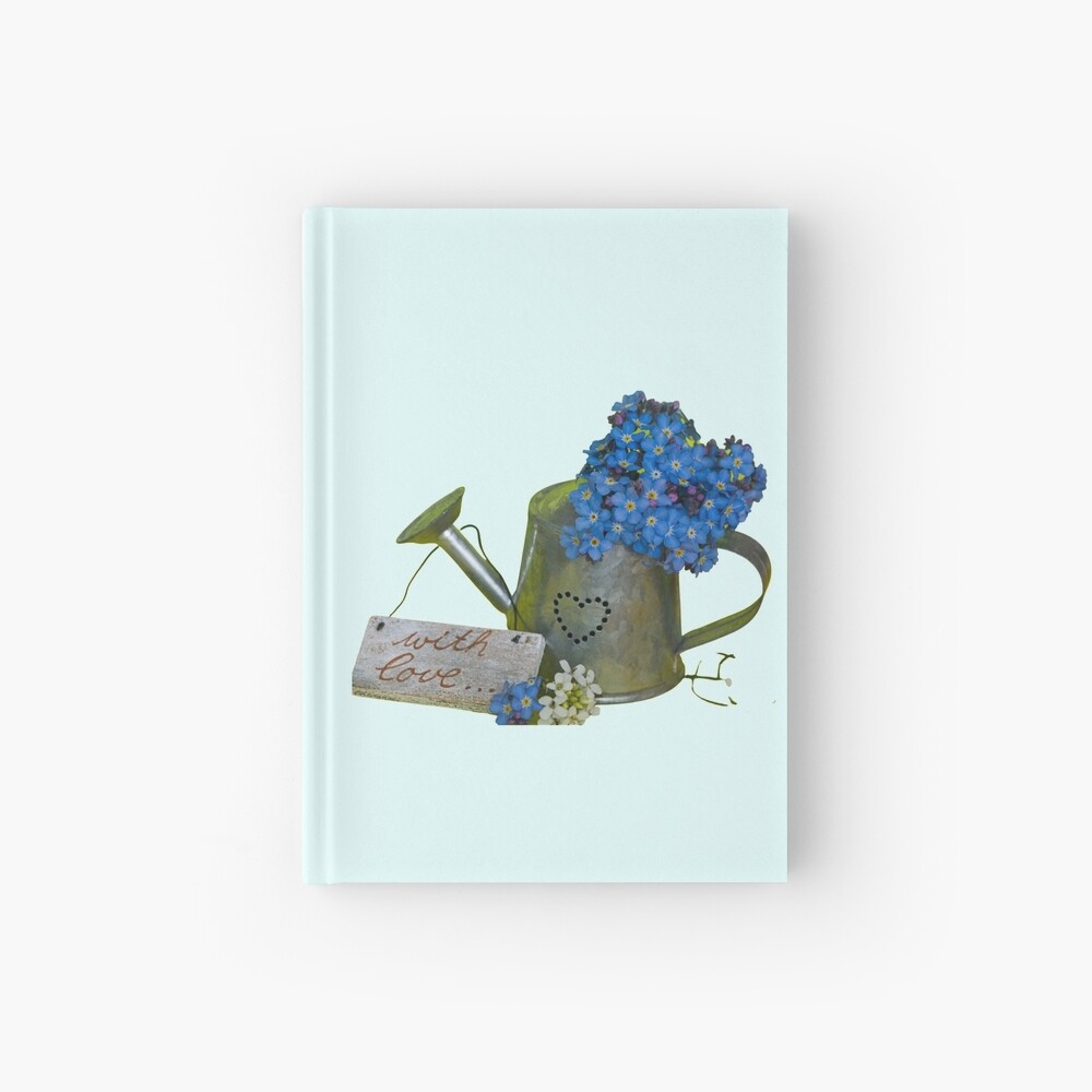 Forget me not flowers in canister Hardcover Journal