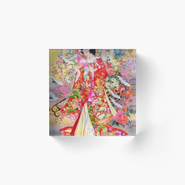 #Kimono, #flower, #geisha, #art, costume, dress, decoration, celebration, fashion, painting Acrylic Block