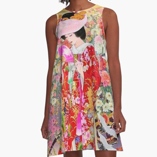 #Kimono, #flower, #geisha, #art, costume, dress, decoration, celebration, fashion, painting A-Line Dress