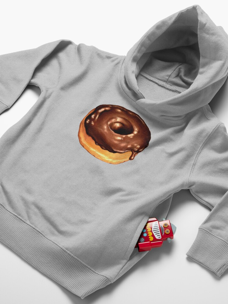 Alternate view of Chocolate Donut Pattern - Pink Toddler Pullover Hoodie