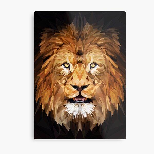 Low-poly lion Metal Print