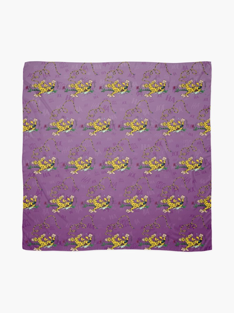 Alternate view of Marsupilami laughing on floor / Background Purple Scarf
