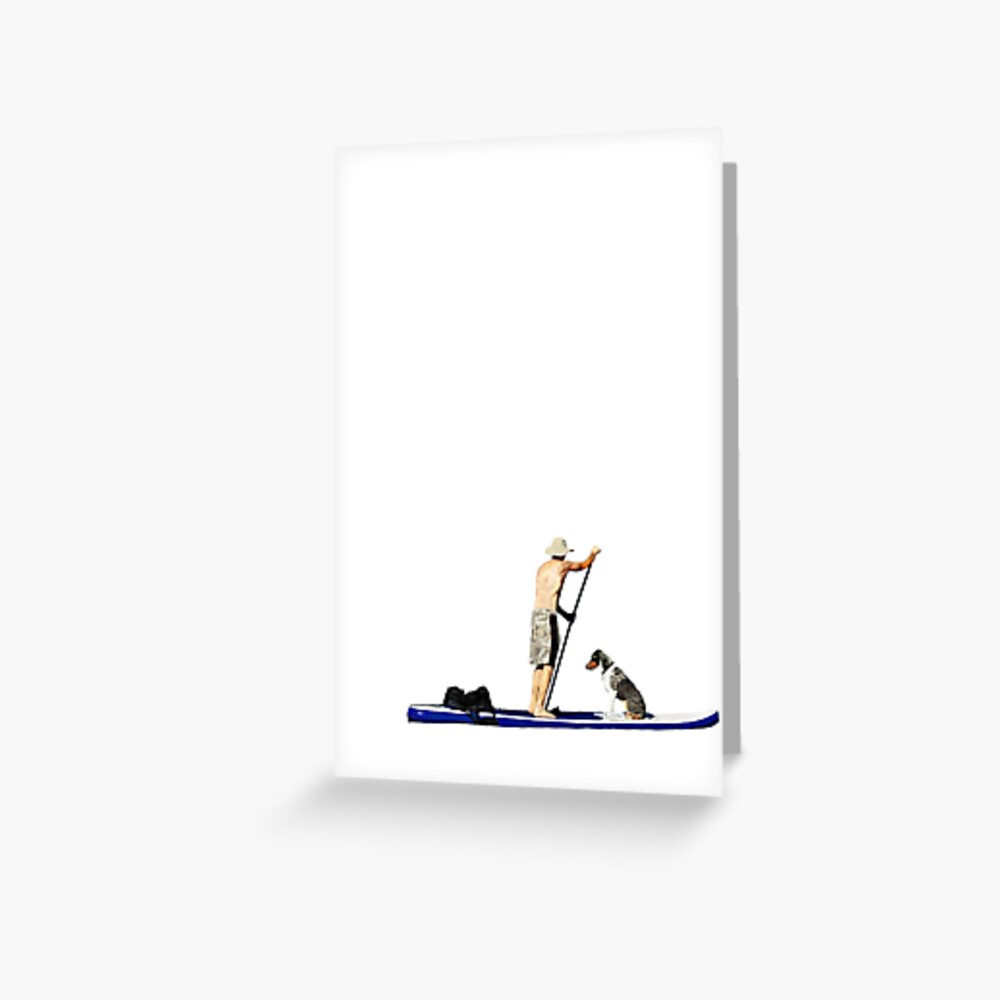 Johnny the Australian Shepherd Paddleboards Roosevelt Lake, October 2014 Greeting Card