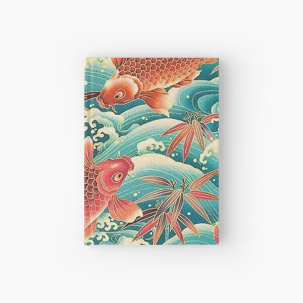 Orange Koi Fish at Blue Ocean Hardcover Journal