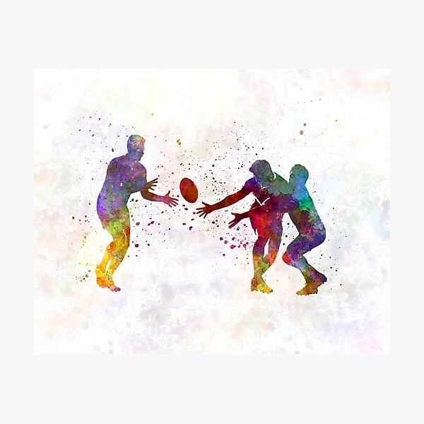 Rugby men players 02 in watercolor Photographic Print
